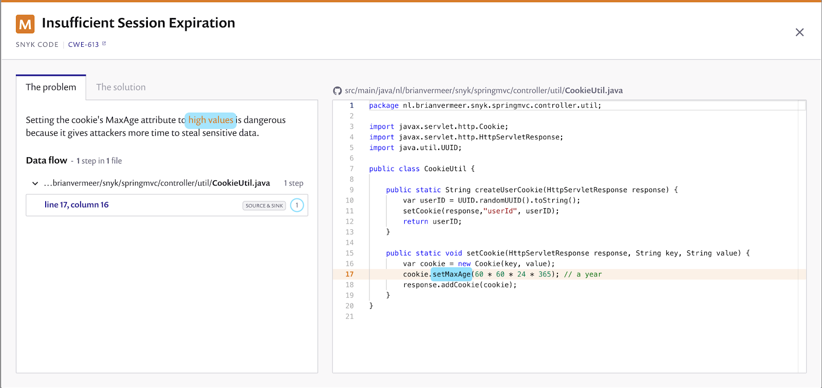 Issuficient session expiration found by Snyk Code
