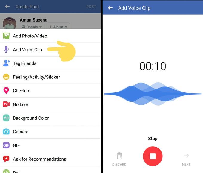 Facebook 測試「語音」動態,社群原生微廣播