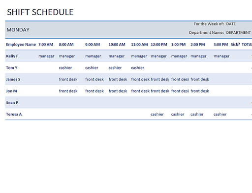 Schedules Office Templates ss3