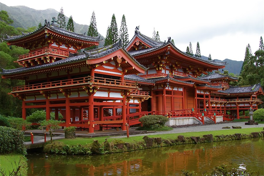 Byodo-In Temple by Gerry Nelmida - Landscapes Travel ( temple, red, byodo-in, hawaii, oahu )