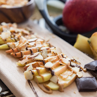 Chocolate Peanut Butter Apples with Coconut and Almonds