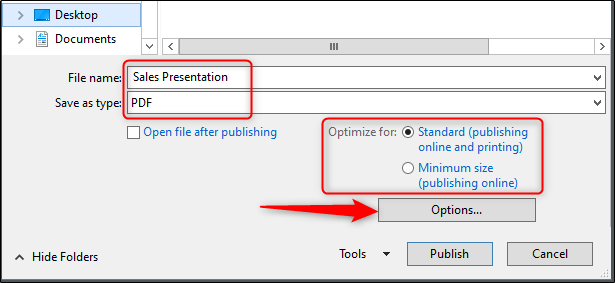 Microsoft Powerpoint Export PDF Optimization option