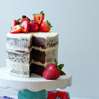 Brownie Layer Cake with Strawberries.
