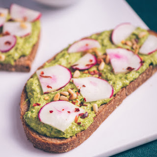 Asparagus Pesto and Radish Open-Faced Sandwich