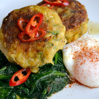 Curried Fish Cakes with Spinach and Poached Egg Recipe