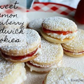 Sweet Lemon Strawberry Sandwich Cookies.