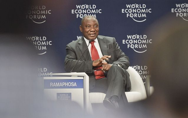 Deputy President Cyril Ramaphosa takes part in the session themed 'Infrastructure Investment' during the World Economic Forum Africa in Kigali, Rwanda, on Thursday.  Picture: GCIS