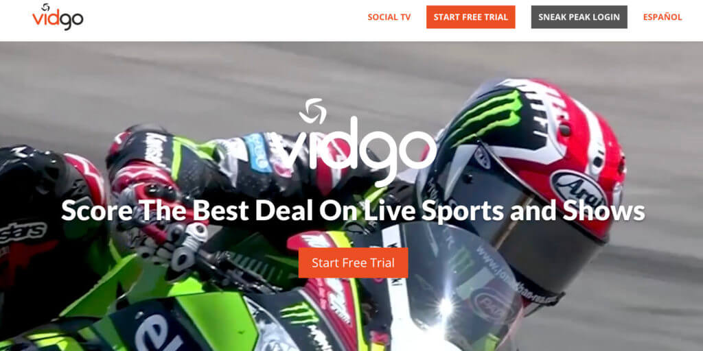 Vidgo free trial offer with motorcycle racer in background