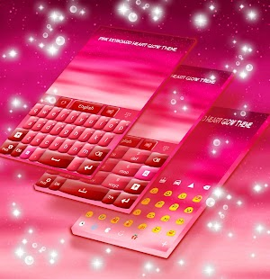 Pink Keyboard Heart Glow Téma - náhled