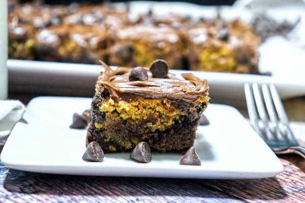 Quick And Easy Chocolate Chip Cookie Dough Brownie On A Plate.