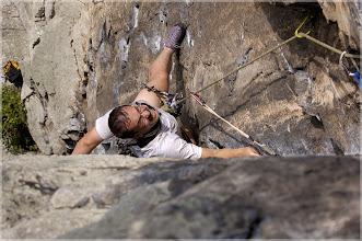 Photo: I'm struggling as a second on 5.8-5.9 route. Seneca Rocks, WV, Aug. 2004 Nikon N70, 70-200 / 2.8 VR
