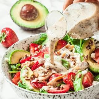 Strawberry Avocado Chicken Salad (Healthy Poppyseed Dressing).