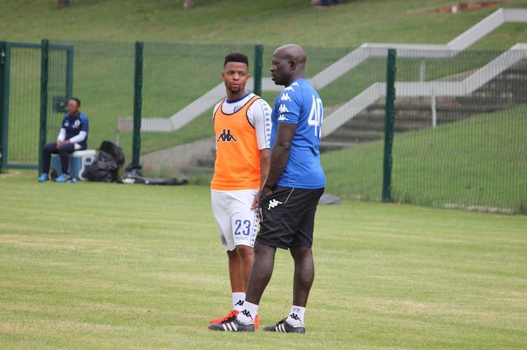 FILE IMAGE: SuperSport United head coach Kaitano Tembo and star midfielder George Lebese during a training session at Megawatt Park in Johannesburg.