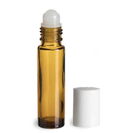 Glasflaska amber, med roller, vit - 10 ml