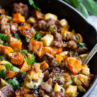Paleo Butternut Sausage Stuffing with Apples & Cranberries.