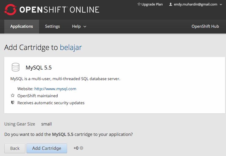 Menambahkan MySQL Cartridge