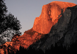 Photo: Sundown at meadow in Yosemite Valley #1773     At that time, at that meadow, that's the color of Half Dome as the setting sun strikes it. Note that the rock next to it, not hit by the sun, is a natural color.  Other cameras had the same color results.     And then we had a beautiful sunrise the next morning as the sun rose over Half Dome and lit the meadow, at about 8:40am.