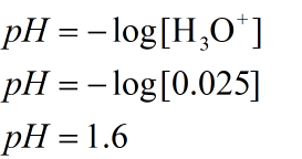 pH value of 0.025 M solution of HCl