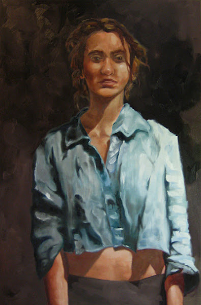 Photo: Lauren In Her Blue Shirt.  24 x 36 in.  This painting is clearly haunted.