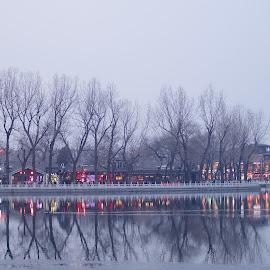 Houhai Lake at Zombie Hour by Francisco Little - City,  Street & Park  Night ( reflection, twilight, lake, houhai, beijing, china,  )