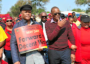 Jeff Radebe and  ANC secretary-general  Ace Magashule during the May Day celebration at Bophelong in Vanderbijlpark /Veli Nhlapo