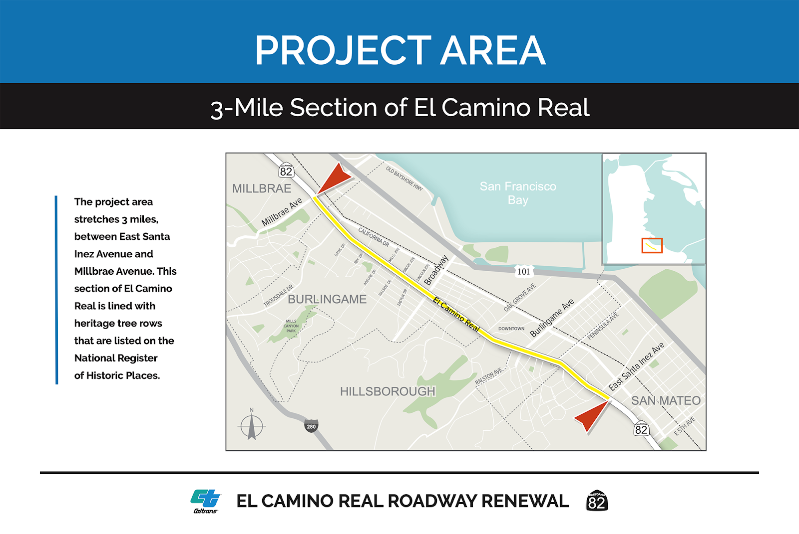 Project Area map, stretching on El Camino from East Santa Inez in San Mateo, through Burlingame, to Millbrae Avenue.