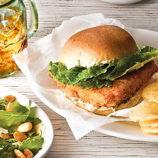 Fish Sandwiches with Remoulade and Arugula-Almond Salad.