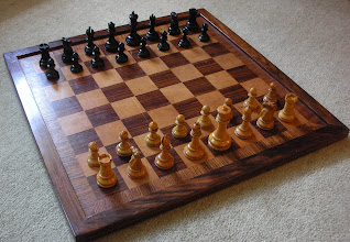 Photo: CH323  Another composite set of mainly Jaques/British Chess Company pieces.  White King 3.5in - all pieces box/ebony, weighted  Once again, I knew exactly what I was buying with this set and have no regrets about having done so.