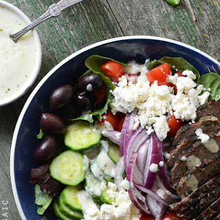 Greek Salad Bowls with Spiced Lamb Burgers.