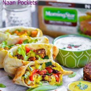 Spicy Veggie Curry Naan Pockets with Grape Raita
