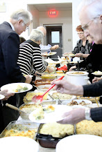 Photo: Sunday, Feb 17/13 - It looks like Linda Baird butted in line . . . while Ron Purinton gets his plate started