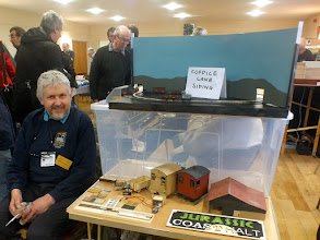 Photo: 021 Another trader present and modeller in his own right was SWOONS member Mike Johnson with his Sn2½ Coppice Lane Siding and his 7 and 16mm scale laser cut wooden kits under the Jurassic Models banner .
