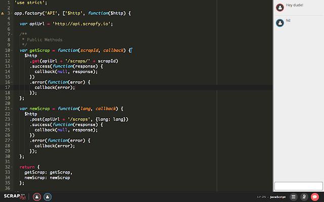 SCRAPfy: Collaborative code editor for ninjas