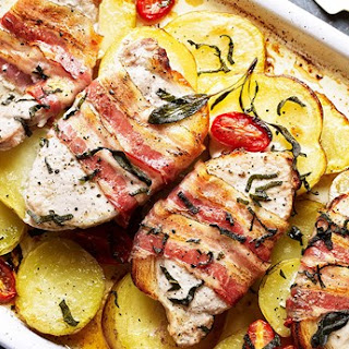 Tuscan Potatoes with Pork Loin Steaks and Pancetta.