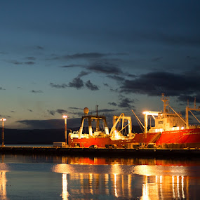 Container ship  by Bruno Machado - Transportation Other ( port, ushuaia, ship, container, sunrise )