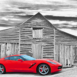 Corvette by JEFFREY LORBER - Digital Art Things ( rust 'n chrome, chevrolet, red car, barn, lorberphoto, sports car, corvette )