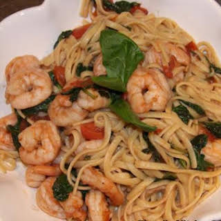 Linguine with Prawns, Fresh Tomatoes and Spinach.