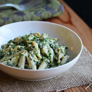 Creamy Kale & Artichoke Penne Pasta.