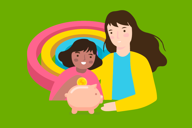 A young girl places a coin in her piggy bank with her mother next to her representing parents helping their children to start investing early.