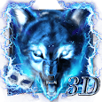 3D Blue Ice wolf theme icon