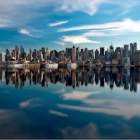 Manhattan by Jan Gorzynik - City,  Street & Park  Skylines ( progress, nobody, reflection, skyline, state, cityscape, architecture, travel, ny, usa, business, hudson, photography, sun, panorama, city, modern, sky, life, skyscraper, midtown, new-york, york, built, water, building, structure, manhattan, boat, urban, new, blue, outdoors, scene, summer, reflect, panoramic, river )