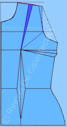 Marcando eliminación en la sisa del traslado de la pinza al hombro