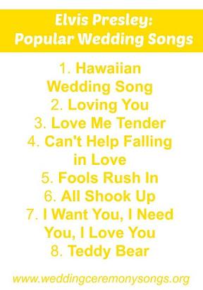 Popular Wedding Songs.Elvis Presley Love Songs For Weddings
