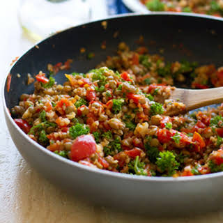 Sauteed Garlic and Tomato Lentil Salad.