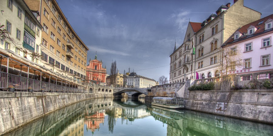 Green river, Blue Sky, Ljubljana by Klemen Ramoves - Buildings & Architecture Other Exteriors