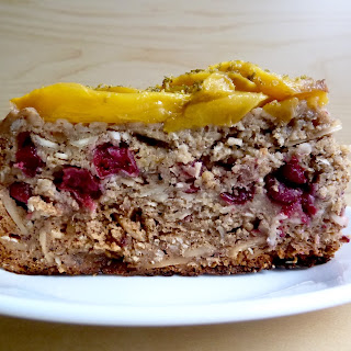 Mango Cake with Apples, Bananas and Cranberries