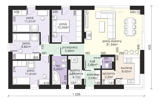 Dom przy Bukowej 9 - Rzut parteru