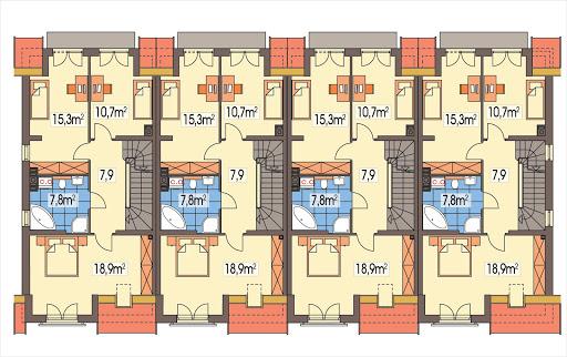 Hubert 2 zestaw 4 segmentów L+S+S+P - Rzut piętra