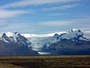 Photo: Our first sight of Vatnajokull, a glacier that covers more than 8% of Iceland