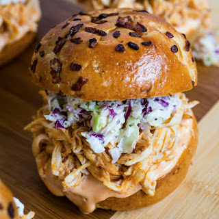 Slow Cooker Buffalo Chicken Sliders with Blue Cheese Slaw Recipe